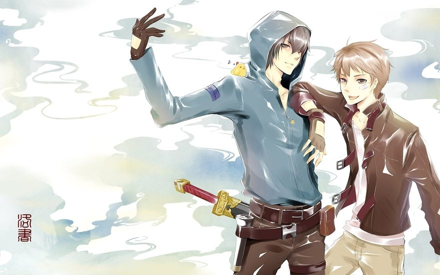 Картинка: Парни, оружие, меч, птица, иероглифы