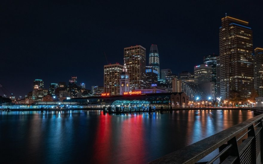 Картинка: Город, ночь, высотки, порт, Сан-Франциско, Port of San Francisco, река, огни