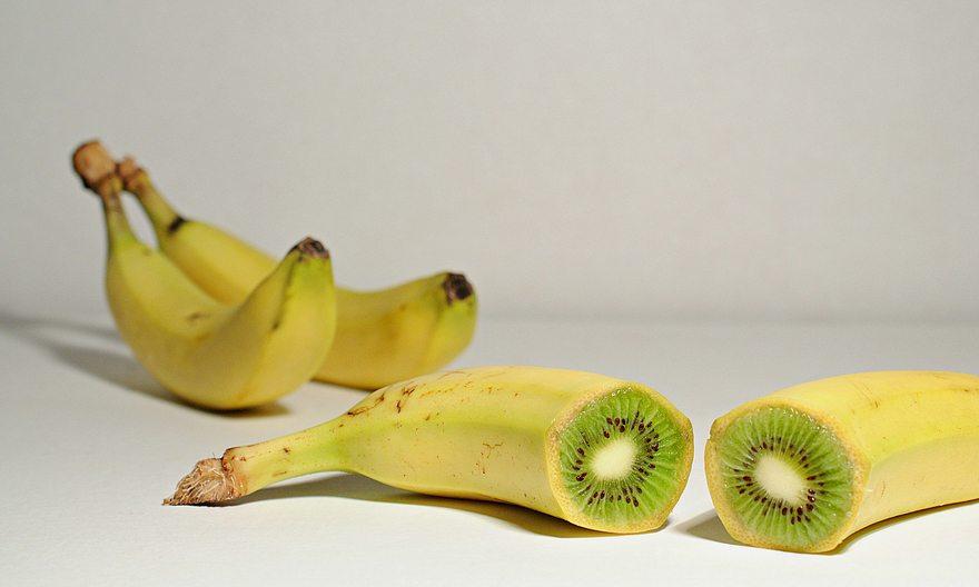 Картинка: Банан, киви, срез, тень
