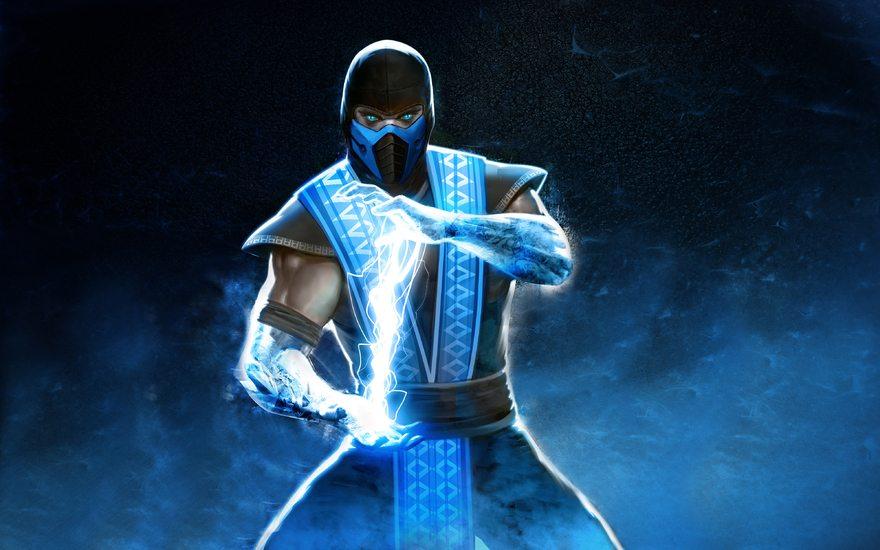 Картинка: Ниндзя, молния, Sub-Zero, лёд, взгляд, Mortal Kombat