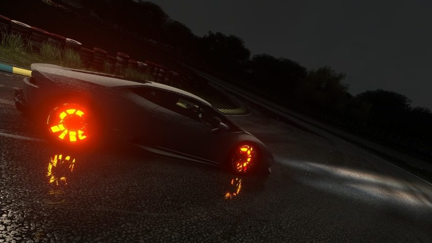 Картинка: Lamborghini, ps4, Driveclub, Huracan, playstation 4, ночь, поворот, трасса