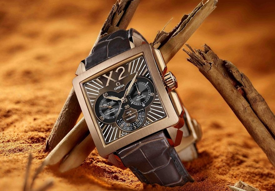 Картинка: OMEGA De Ville X2, наручные часы, циферблат, ремешок, кожа, песок