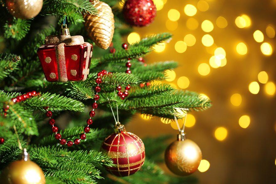 Картинка: Ёлка, праздник, Новый Год, игрушки, украшения, блики