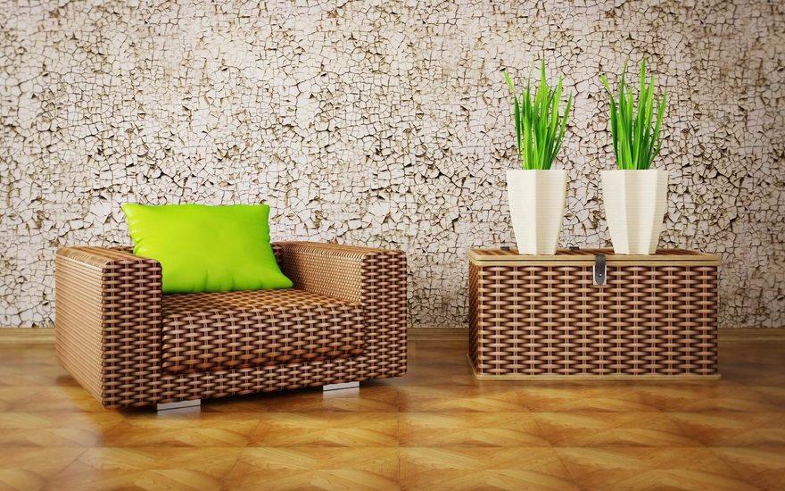 Картинка: Кресло, мебель, подушка, цветы, растения