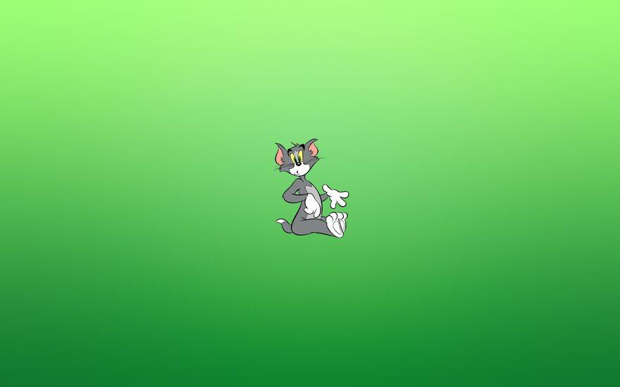 Картинка: Кот, Том, сидит, удивление, мультик, зелёный фон
