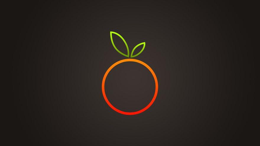 Картинка: Апельсин, круг, оранжевый, контур, листья, тёмный фон