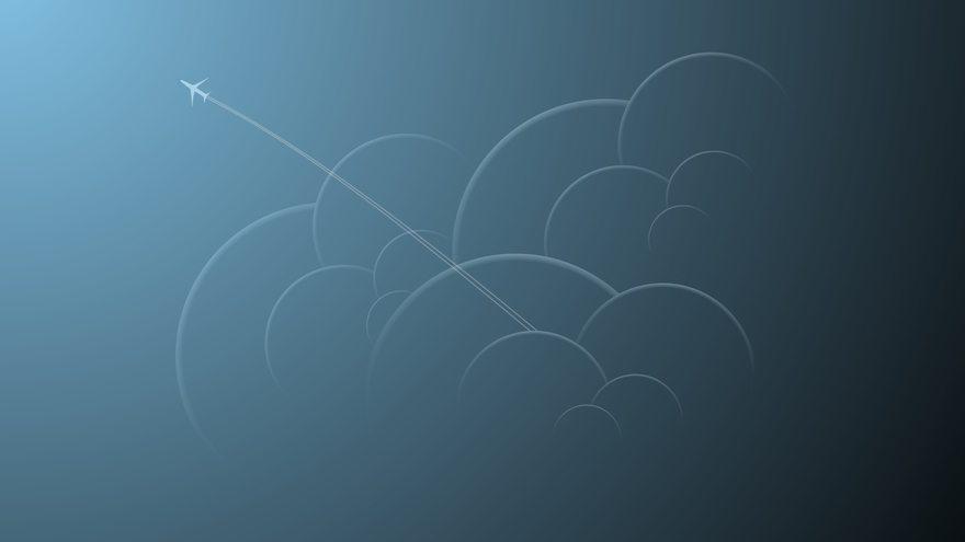 Картинка: Самолёт, облака, летит, след, голубой фон