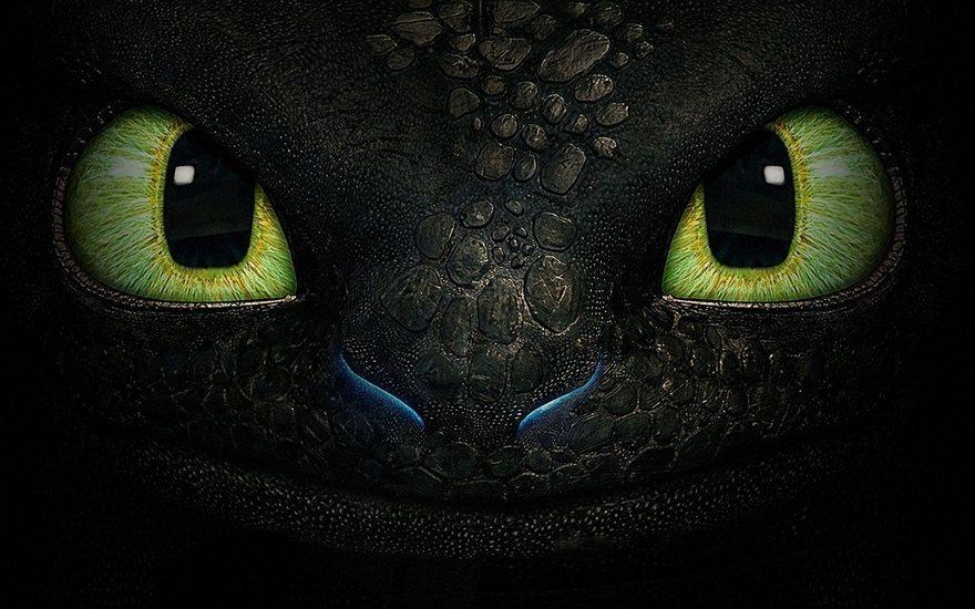 Картинка: Взгляд, глаза, дракон, Беззубик, Ночная фурия, фильм, Как приручить дракона