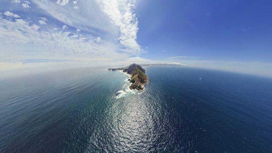Картинка: Океан, вода, остров, горы, горизонт, облака, небо