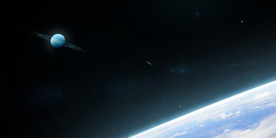 Картинка: Планеты, спутники, атмосфера, облака, комета, кольца, космос, звёзды