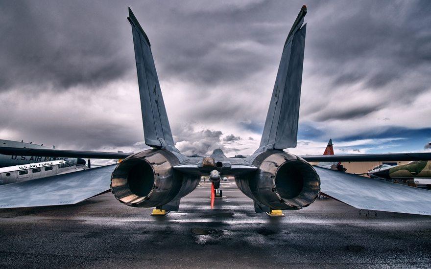 Картинка: Grumman, f 14, tomcat, реактивный, истребитель, турбины, двигатель, небо, тучи