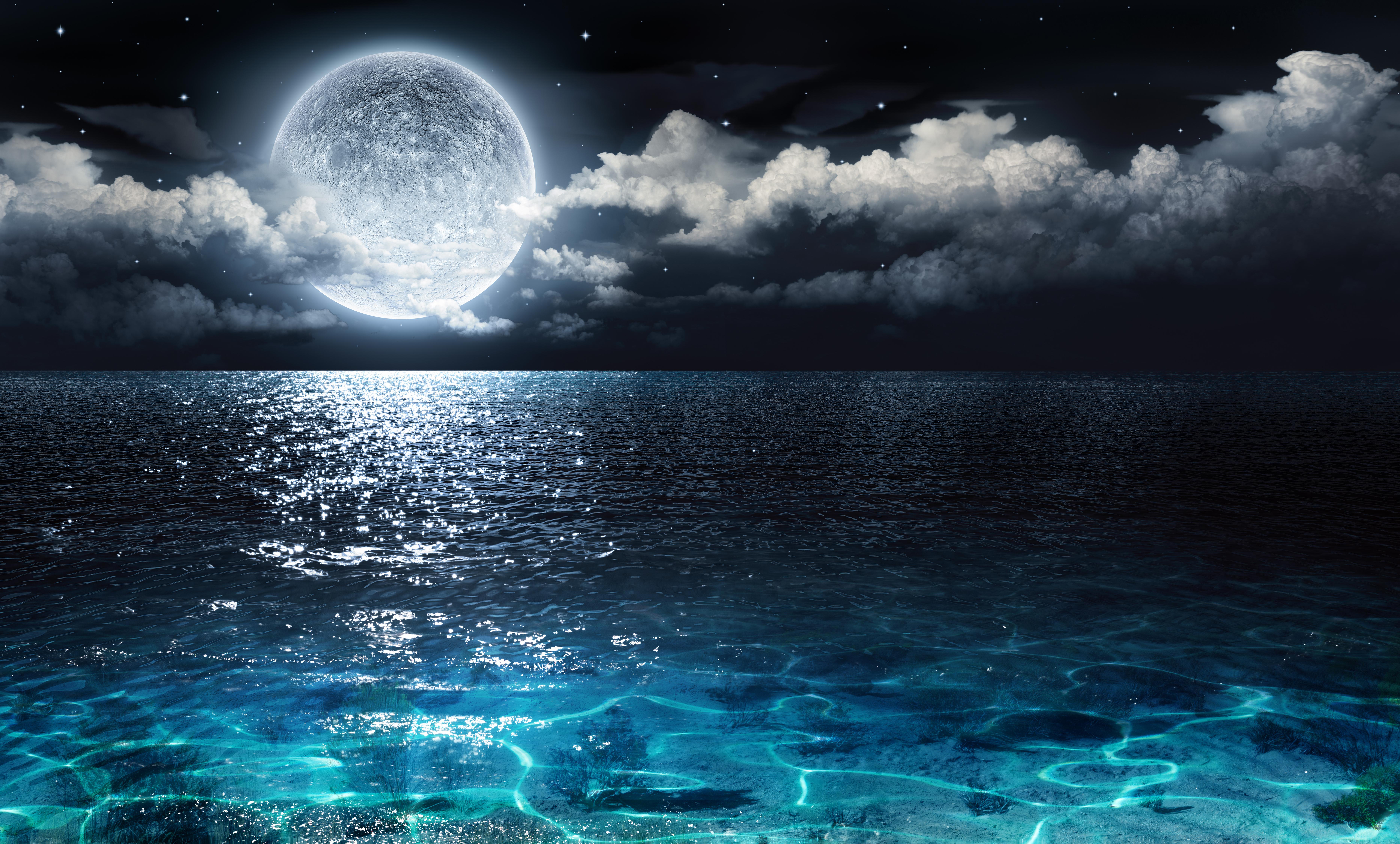Картинка: Ночь, луна, море, звезды, облака, 3D