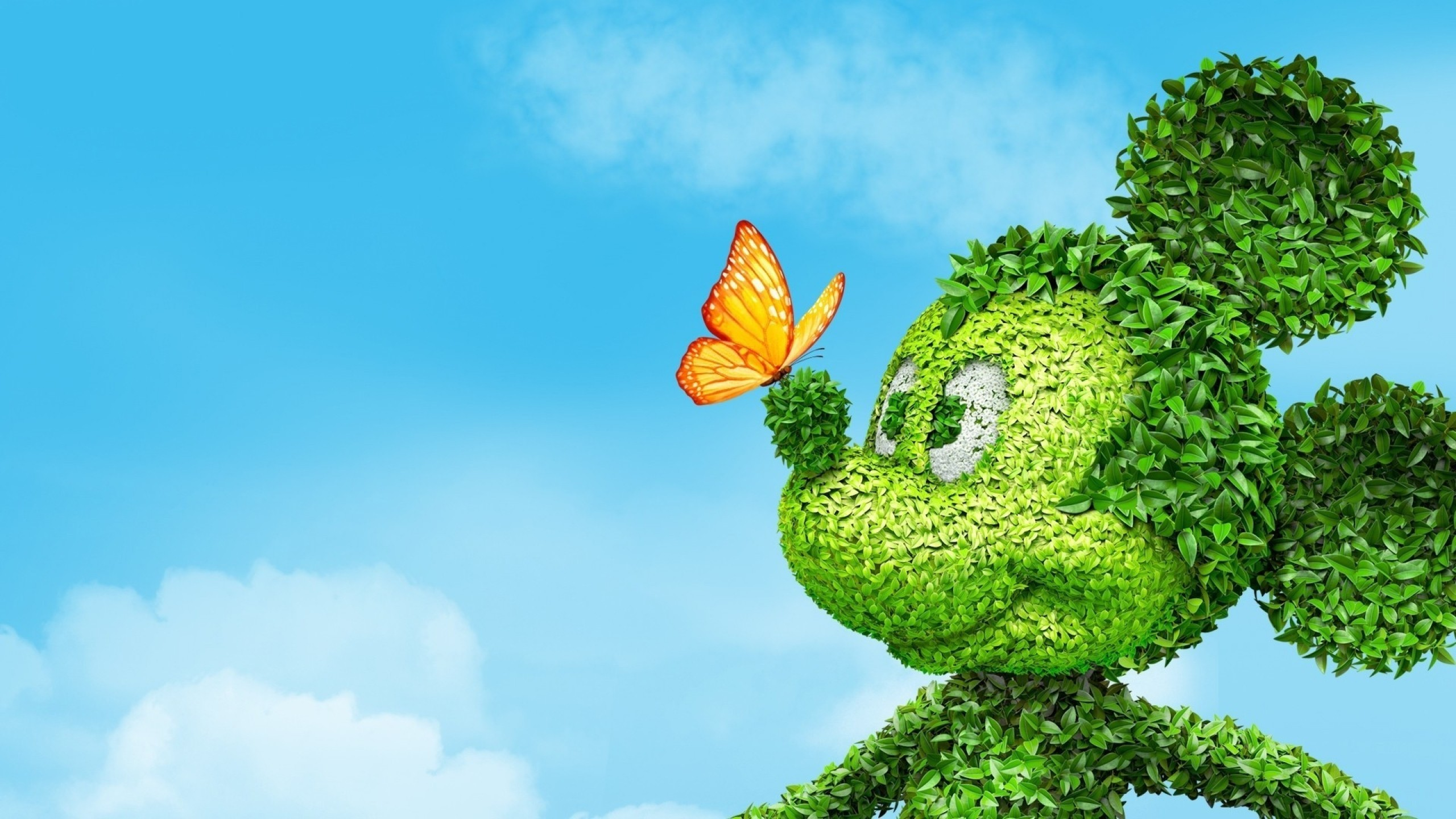 Image: Mickey mouse, leaves, butterfly, sky