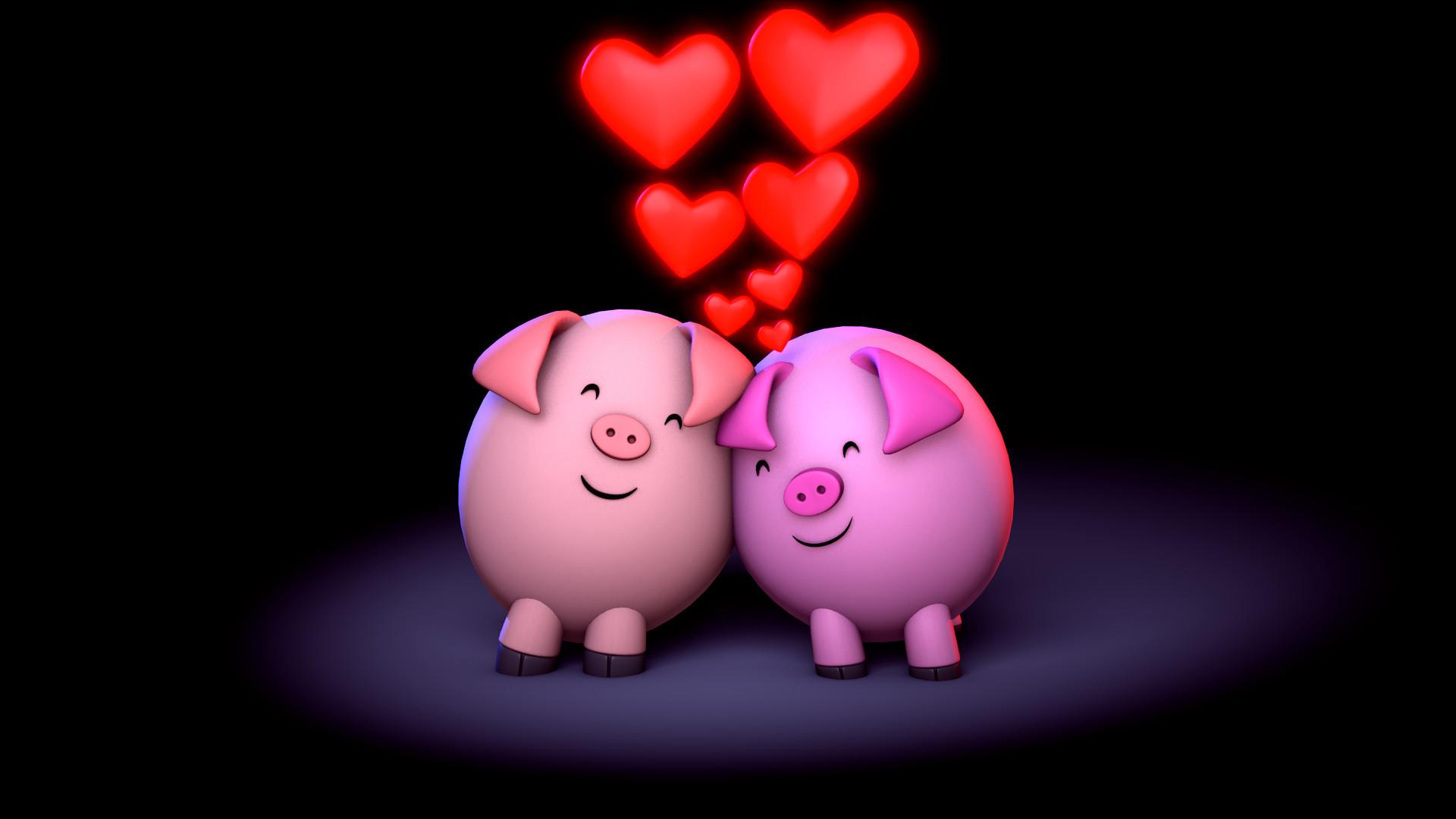 Картинка: Хрюшки, свиньи, пара, сердечки, любовь, рядышком