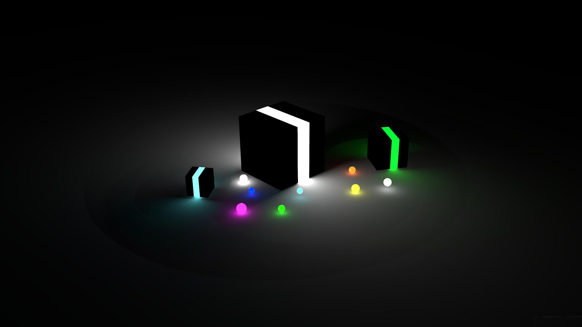 Картинка: Кубы, шарики, разноцветные, темно, подсветка