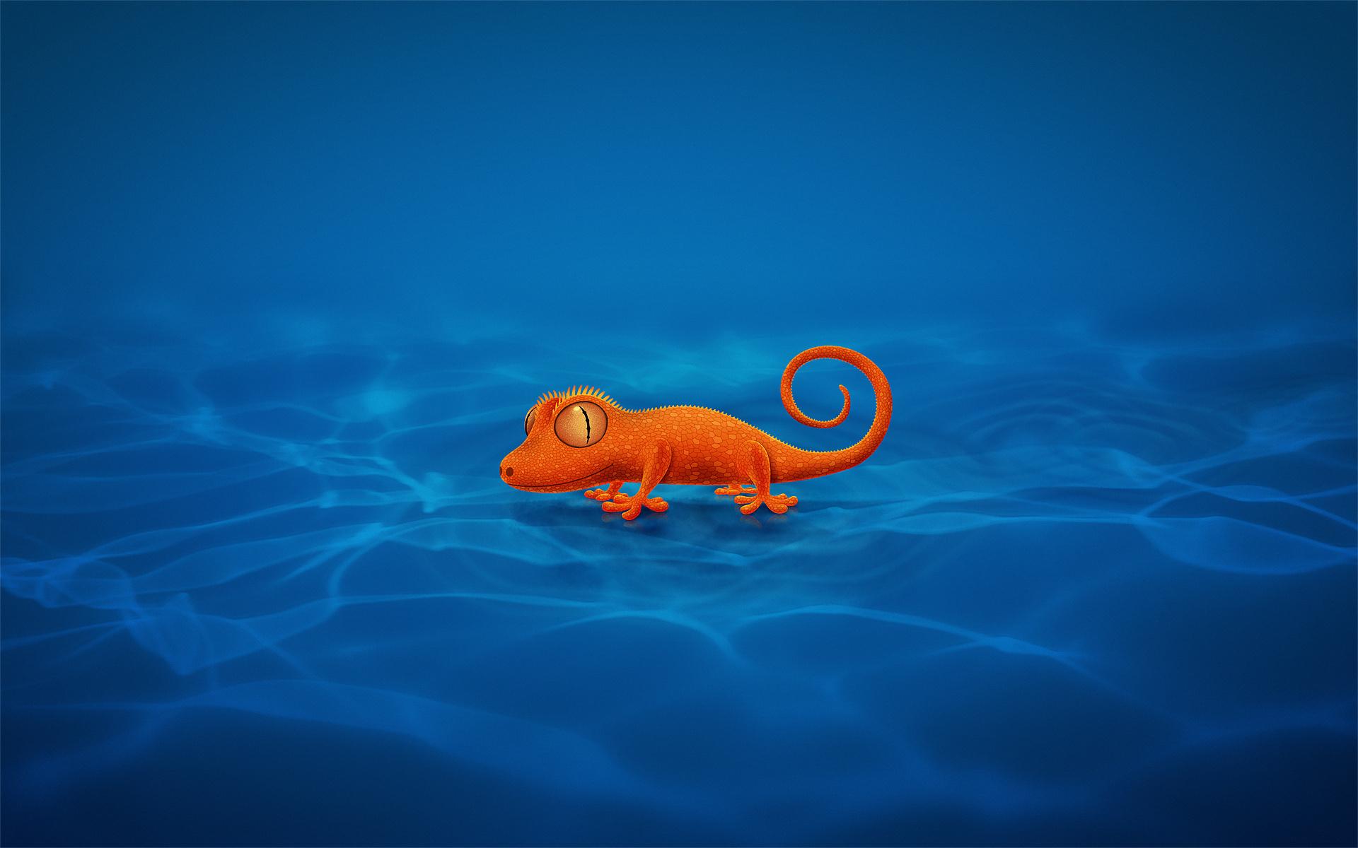 Картинка: Ящерица, оранжевая, синие волны