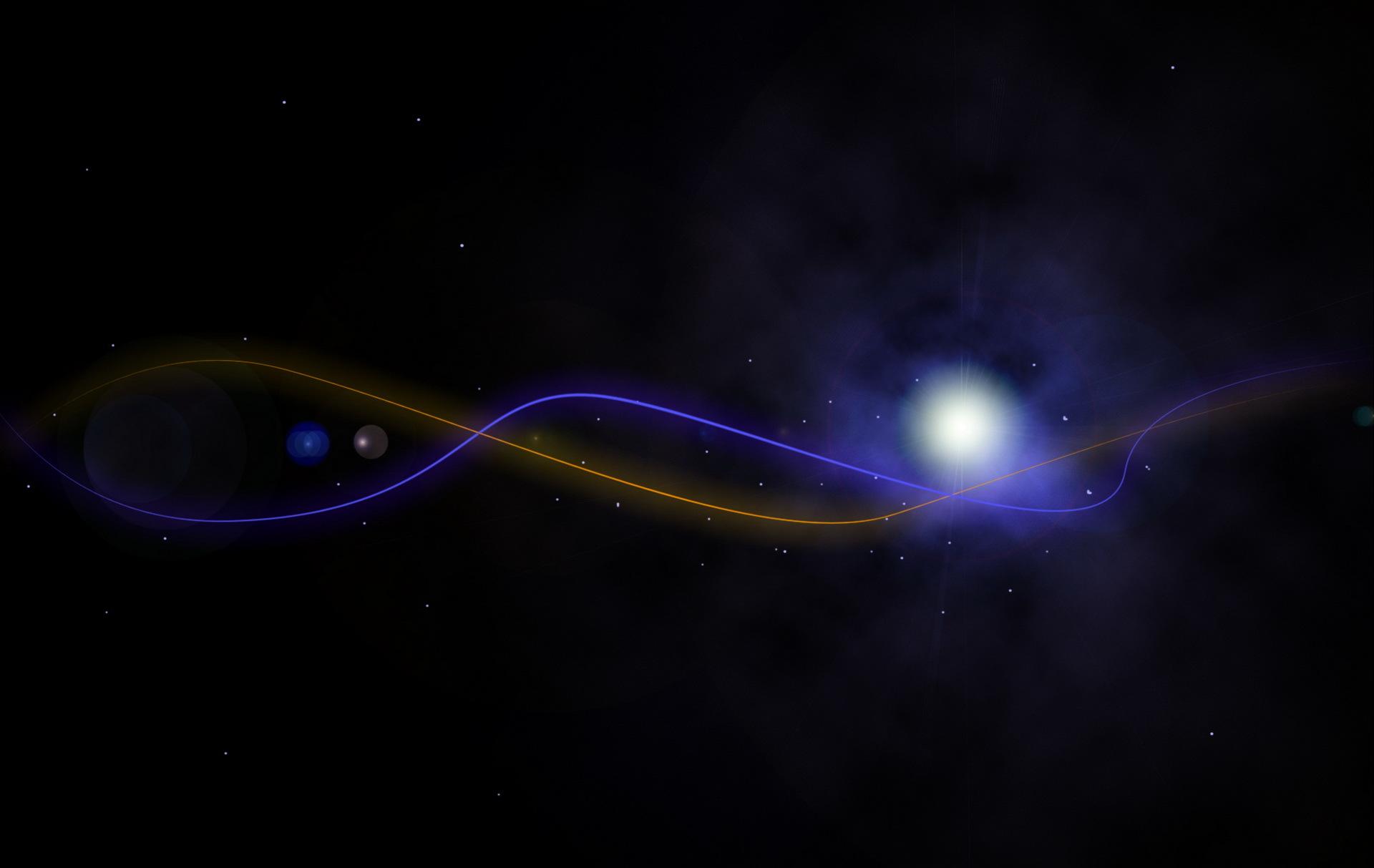 Картинка: Линии, свет, звёзды, туман, фон