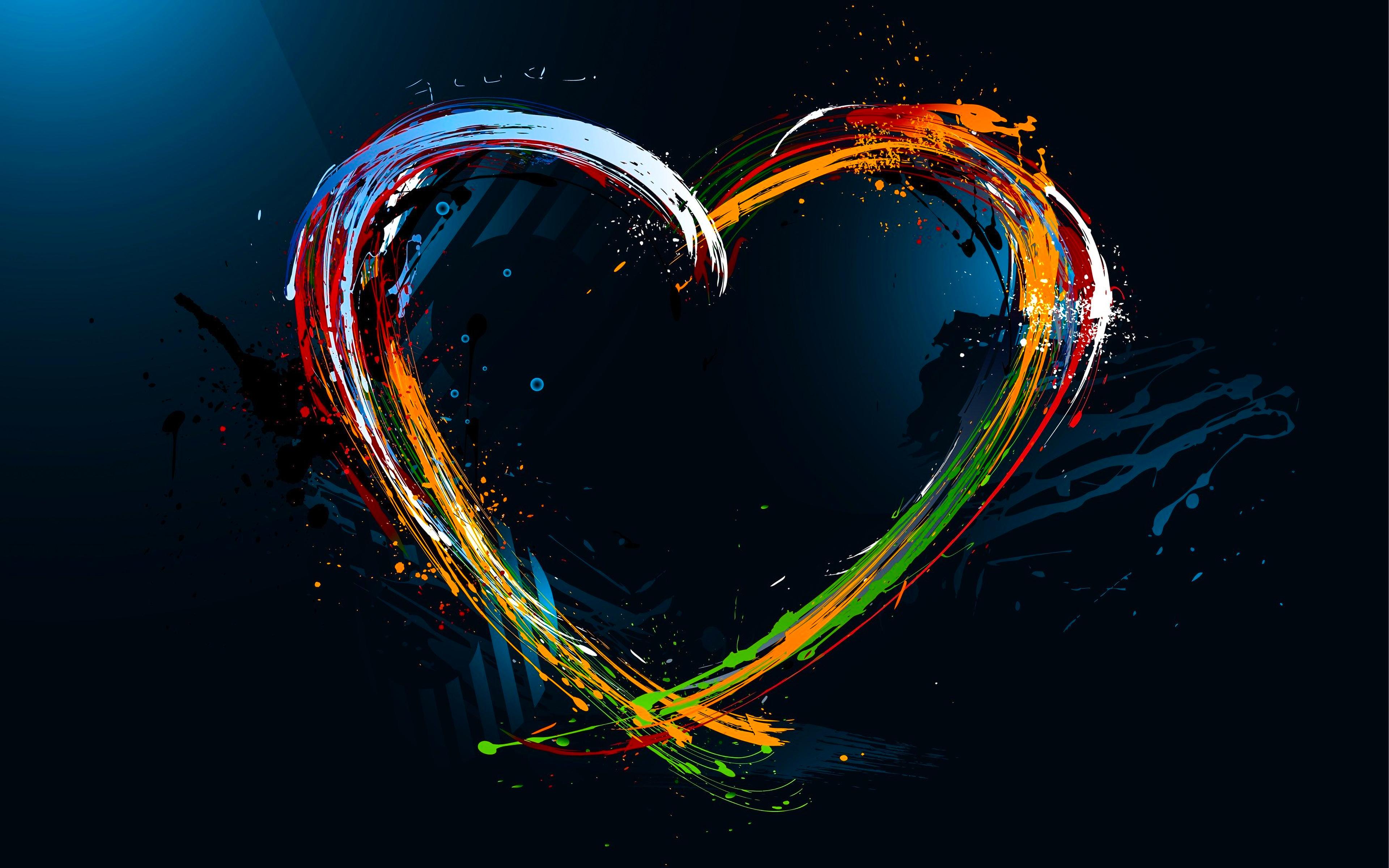 Картинка: Сердце, краски, тёмный фон