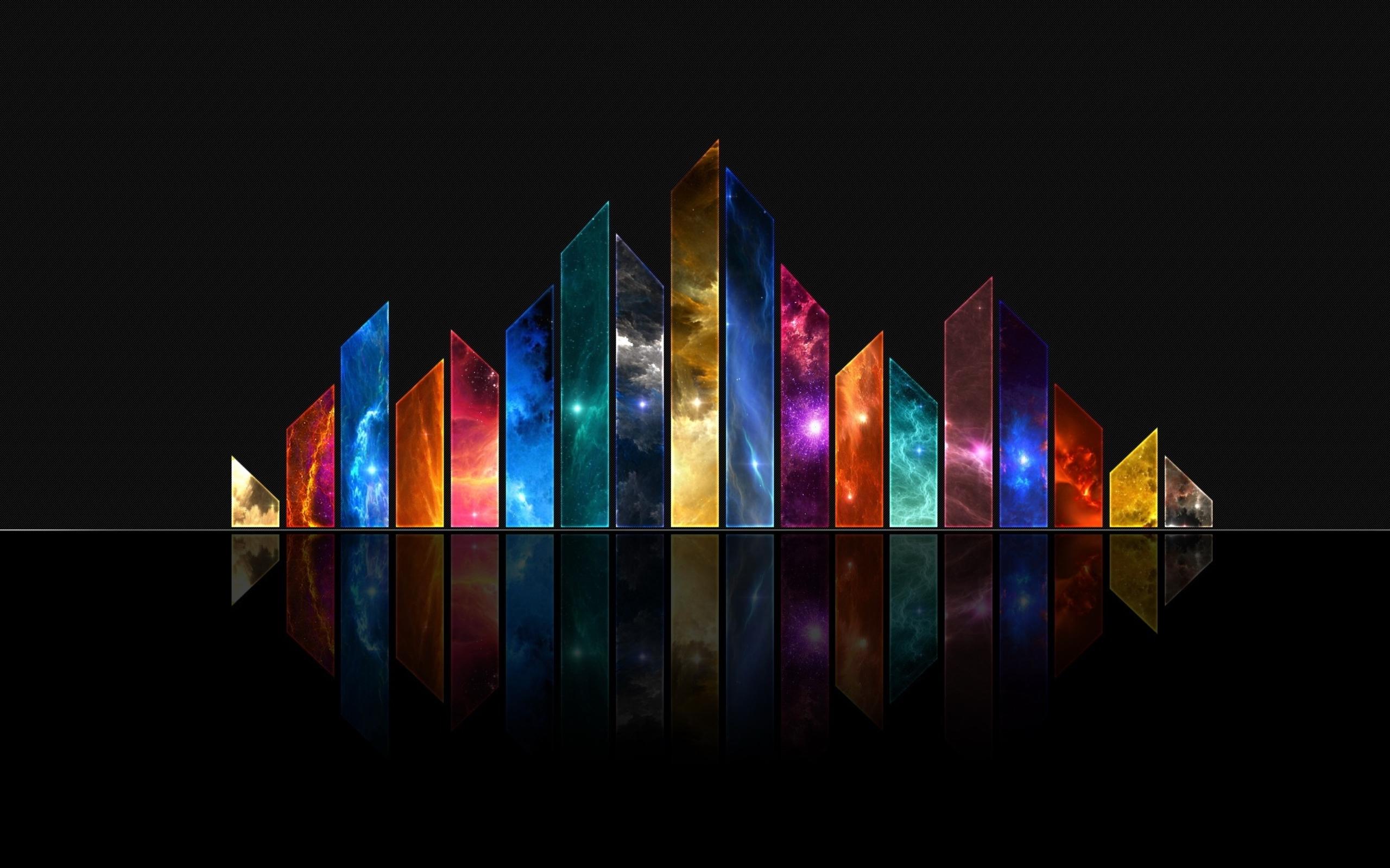 Картинка: Отражение, столбы, разноцветные, звезды