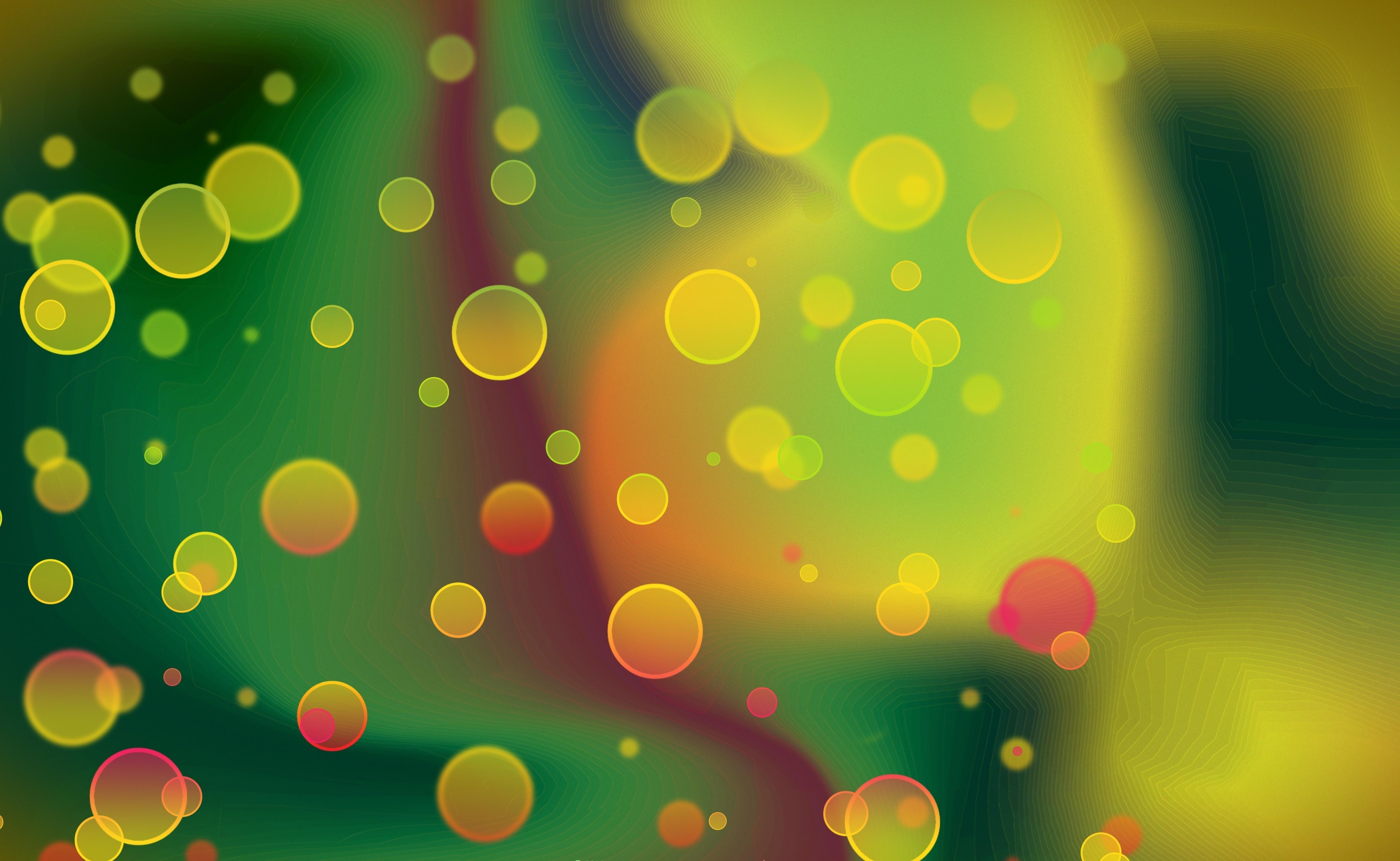 Картинка: Кружочки, блики, размытость, зелёный, жёлтый, рябь
