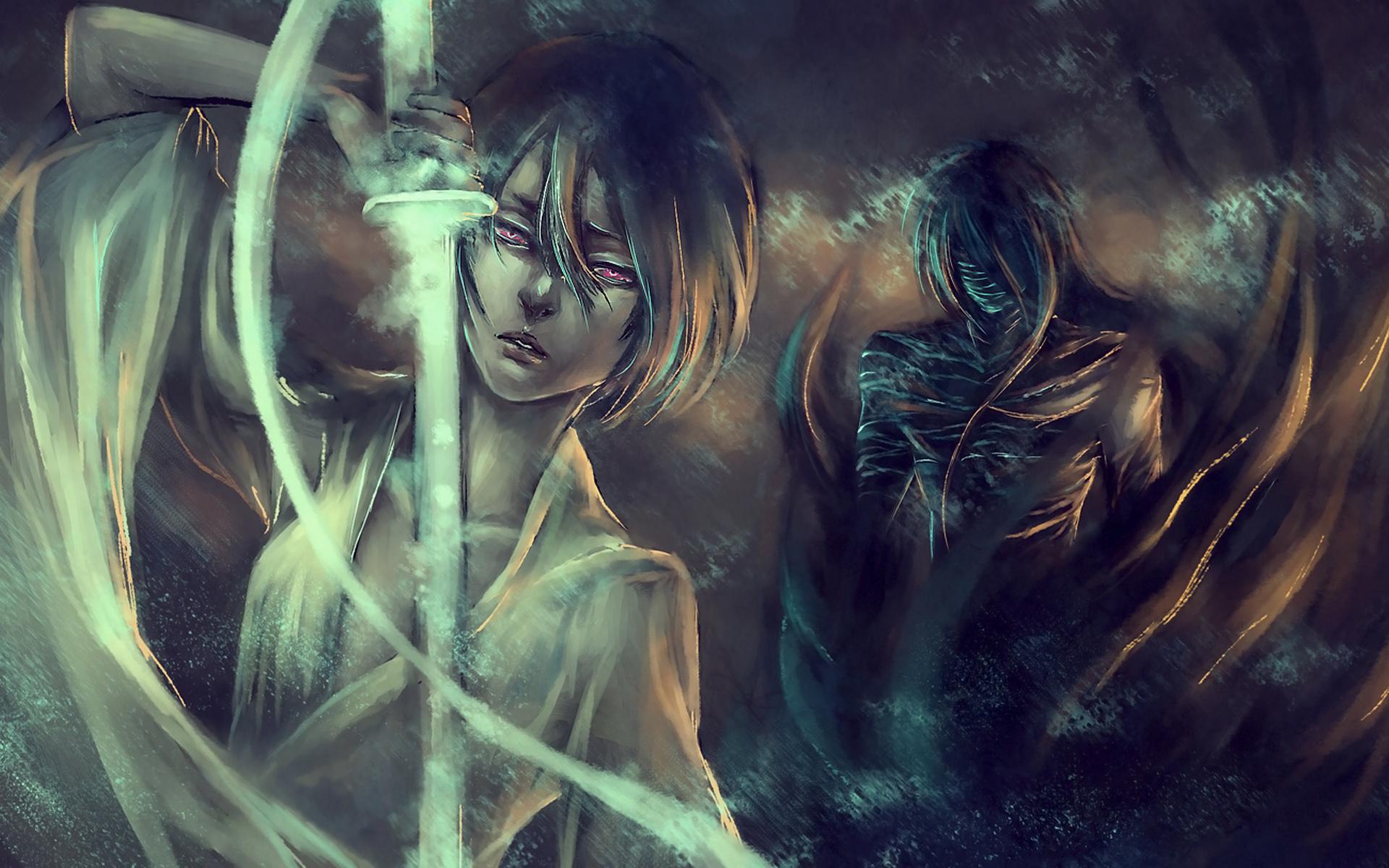 Image: Girl, Rukia Kuchiki, sword, guy, anime, art, Bleach