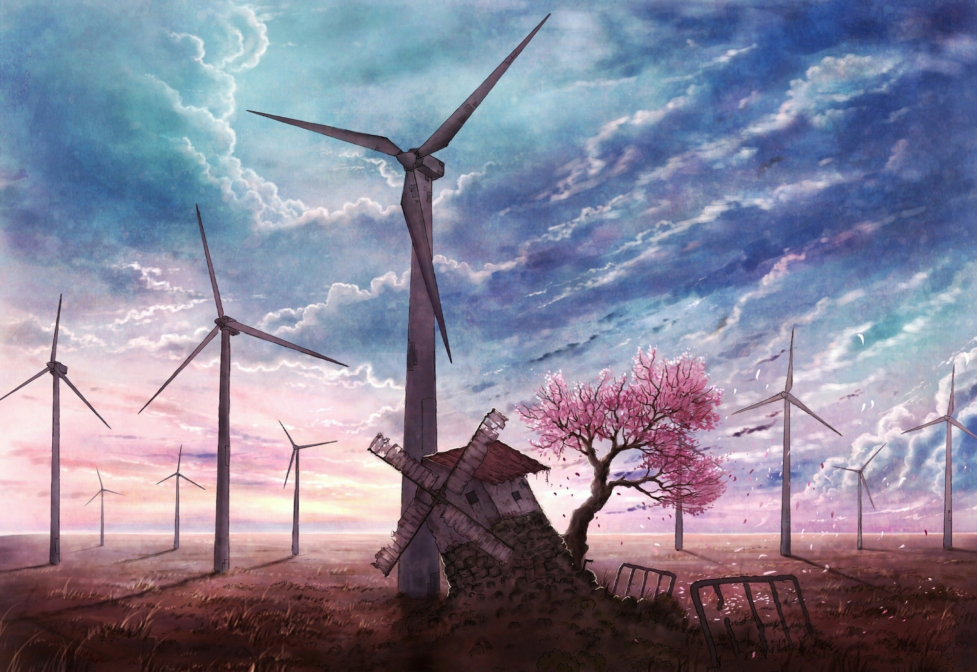 Image: Art, wind, mills, turbines, wind station, sky, field, tree, Sakura