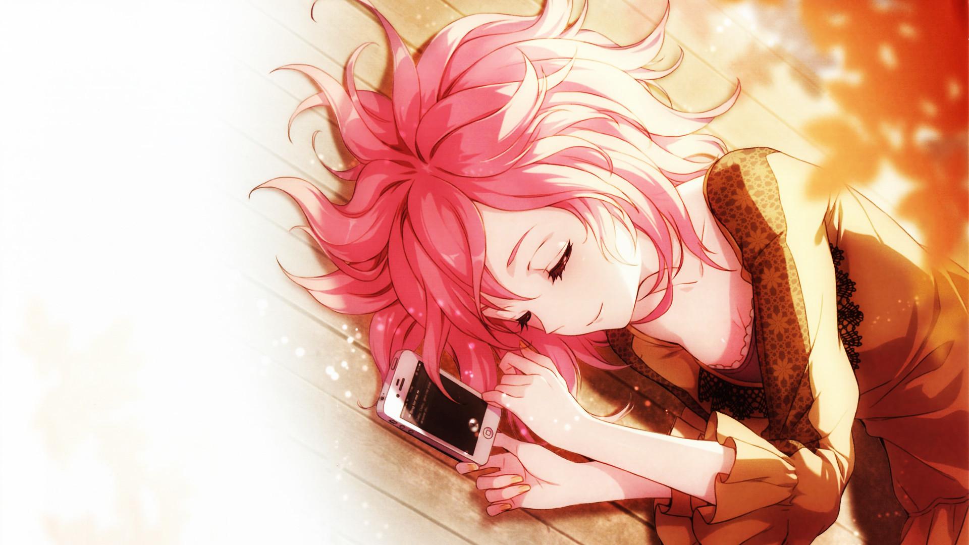 Картинка: Девушка, лежит, волосы, телефон, спит