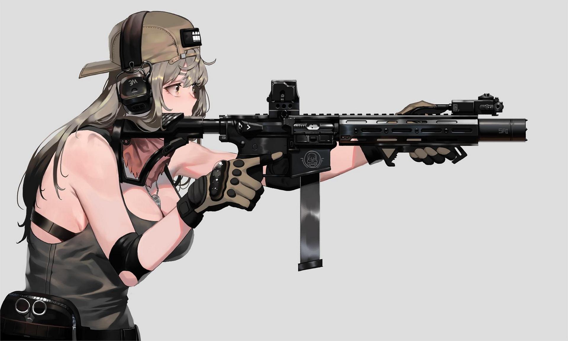 Картинка: Девушка, прицеливание, кепка, наушники, оружие, автомат