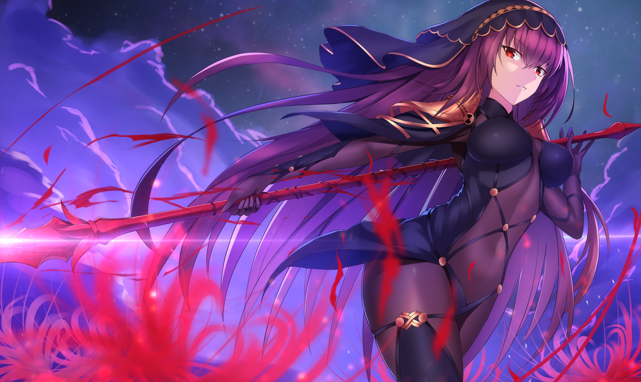 Image: Girl, scathach, spear, weapon, figure, hair, look