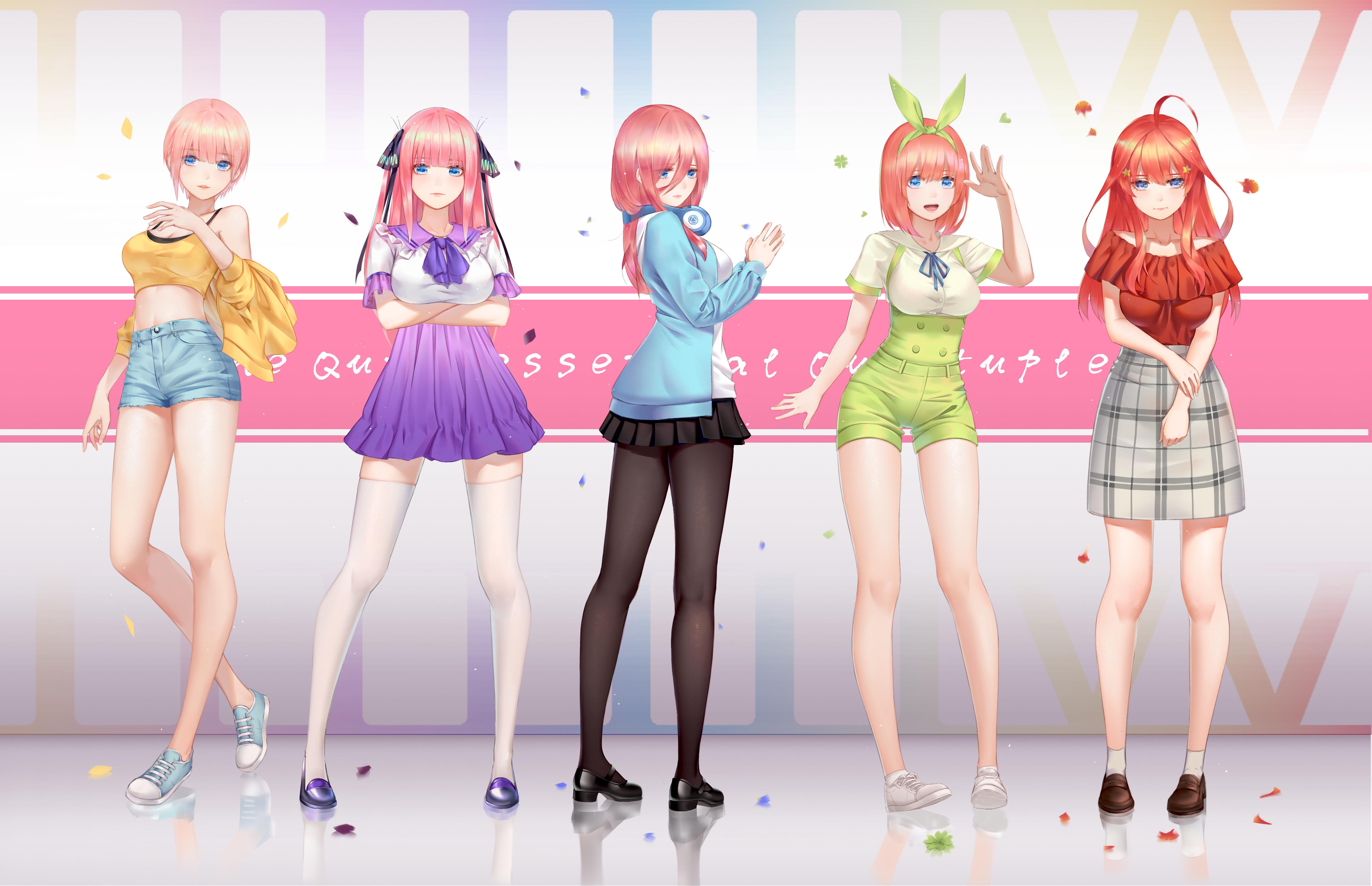 Картинка: Девушки, аниме, Пять невест, Go-Toubun no Hanayome, Накано Итика, Накано Нино, Накано Мику, Накано Ёцуба, Накано Ицуки