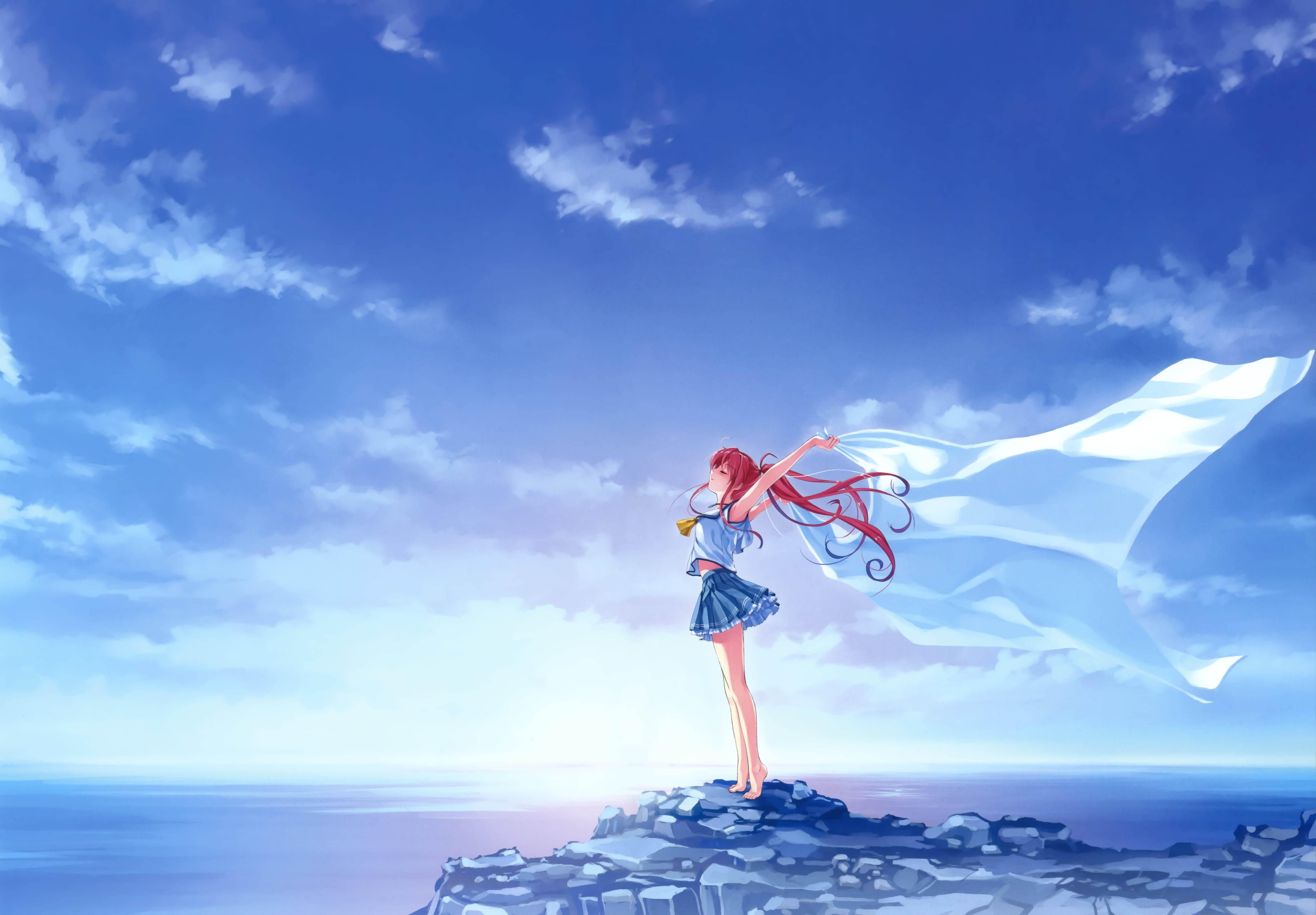 Image: Girl, rock, sea, sky, freedom, hair, wind, fabric, Miyamae Tomoka, Deep Blue Sky & Pure White Wings