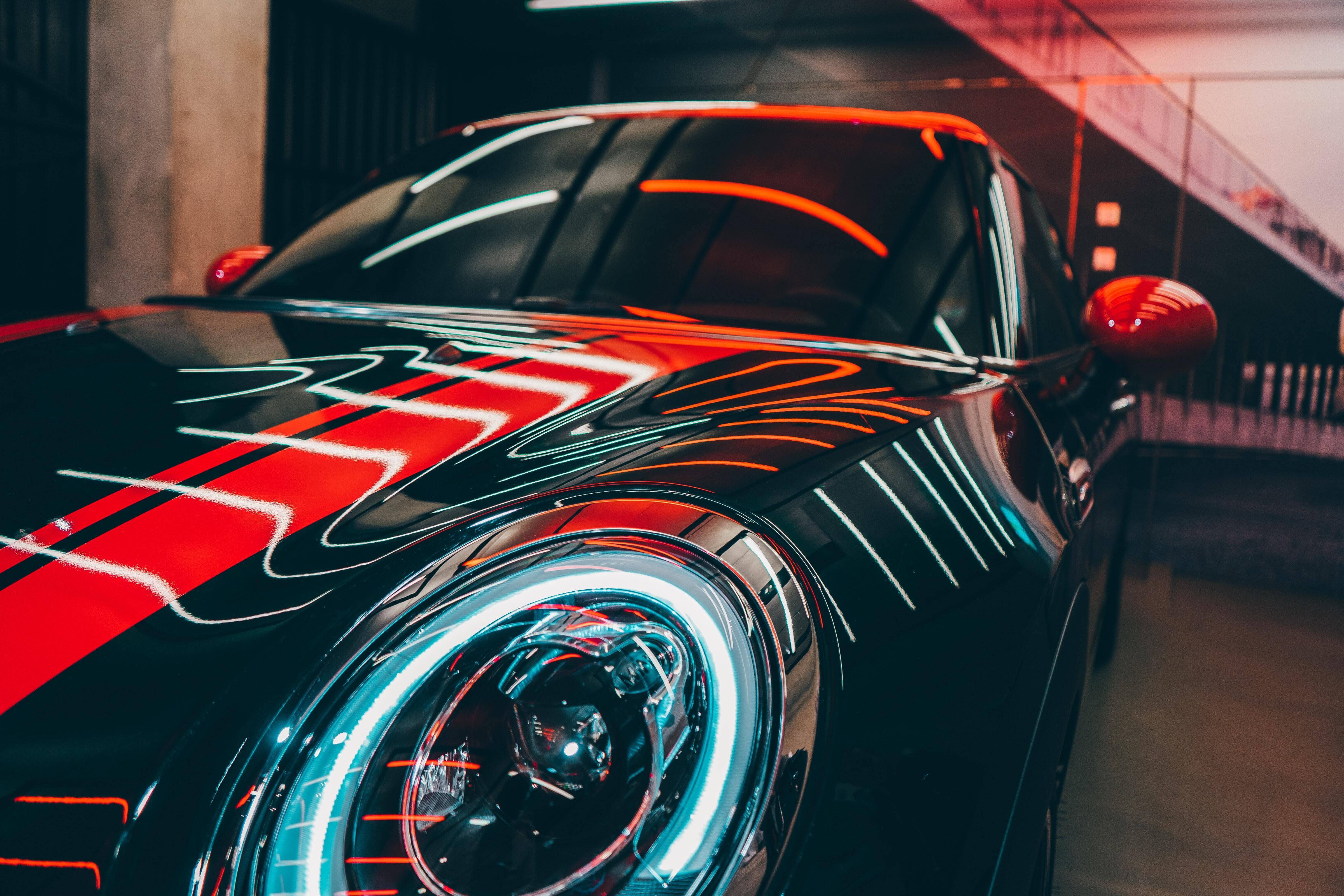 Картинка: Автомобиль, Mini Cooper, фара, отражение, лампы, наклейка