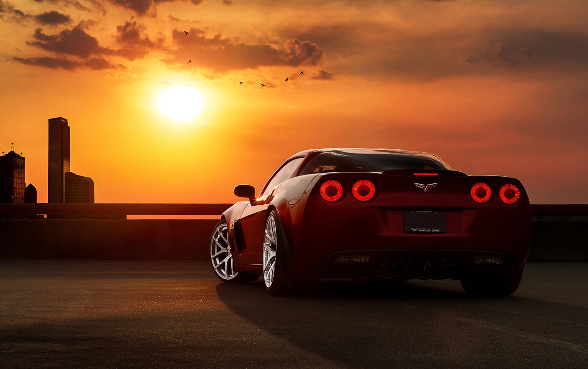 Image: Chevrolet, corvette, tuning, clouds, sunset
