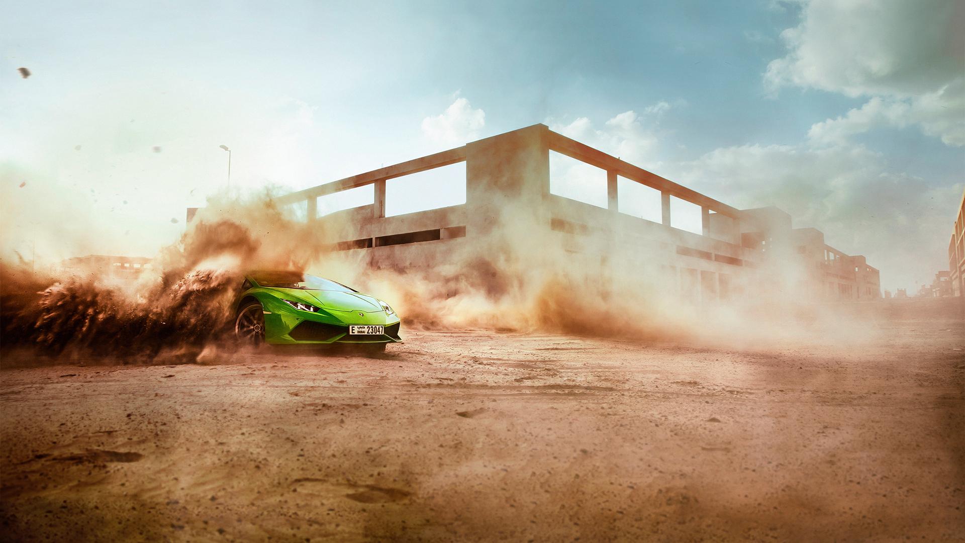 Картинка: Lamborghini, суперкар, пыль, скорость, здания, дрифт