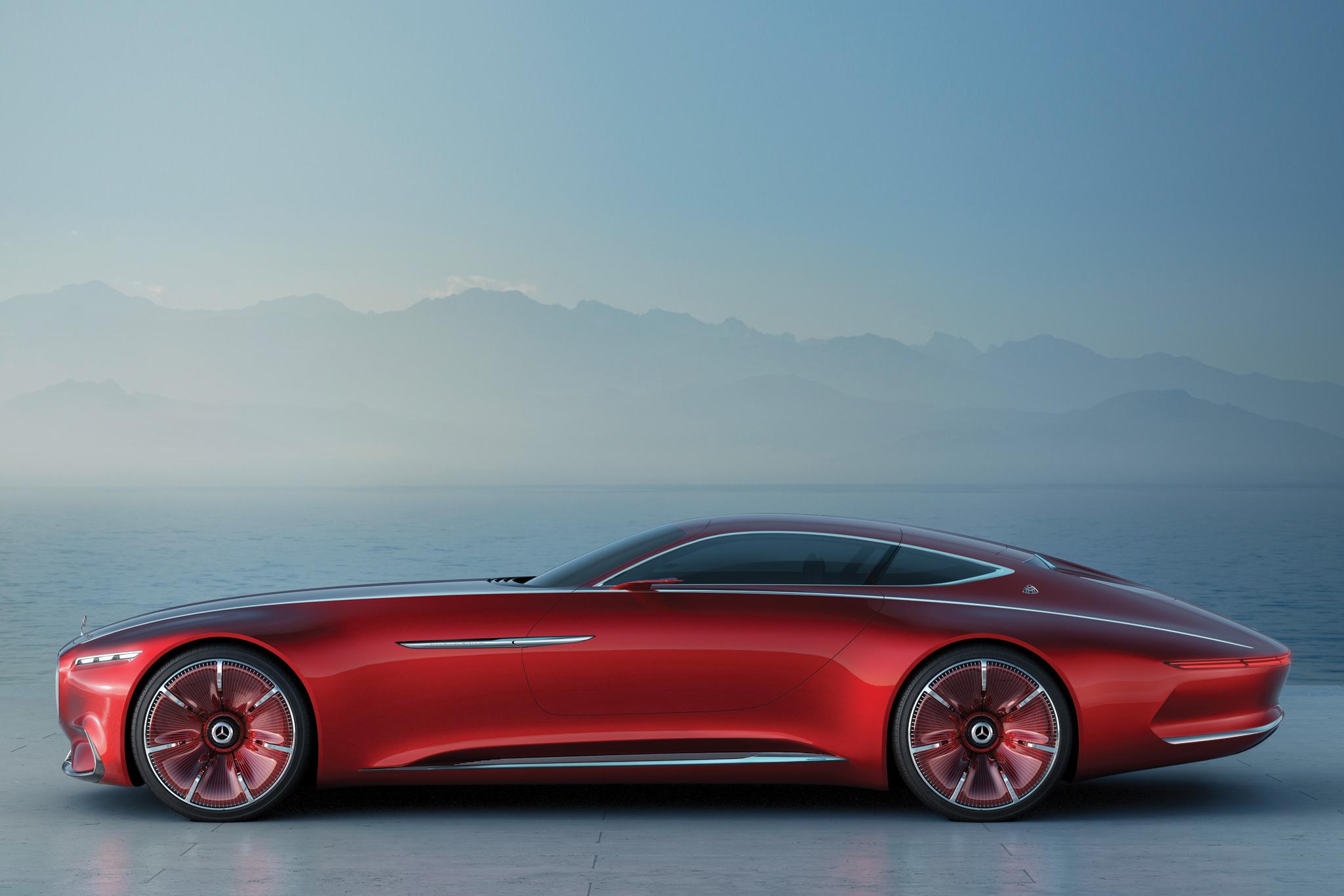 Картинка: Vision, Mercedes-Maybach 6, Mercedes, концепт, электродвигатель, красный, туман, море, горы