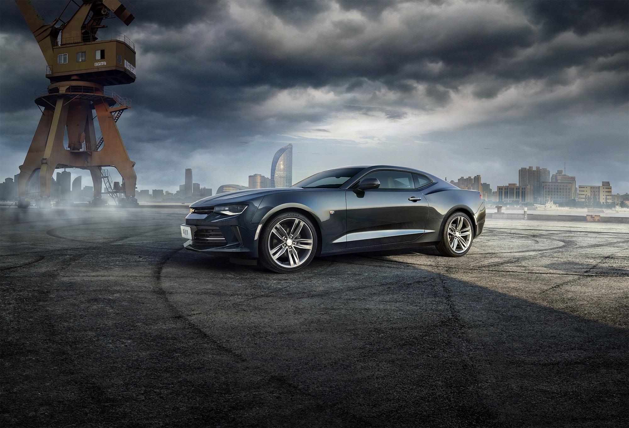 Image: Car, clouds, crane, city, Chevrolet, Camaro, tire tracks