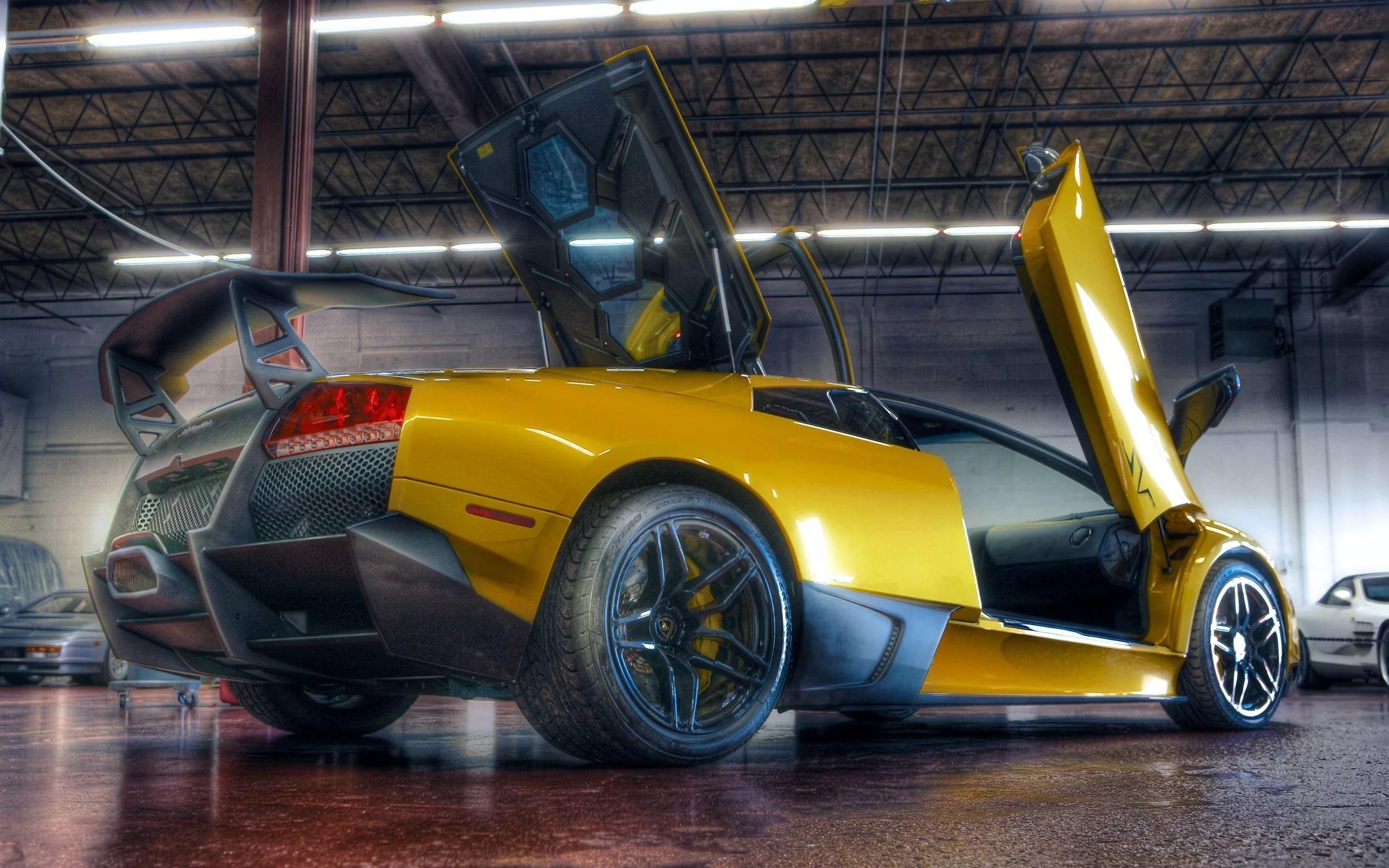 Картинка: Спорткар, Lamborghini Murcielago, LP670-4, SuperVeloce, жёлтый, гараж