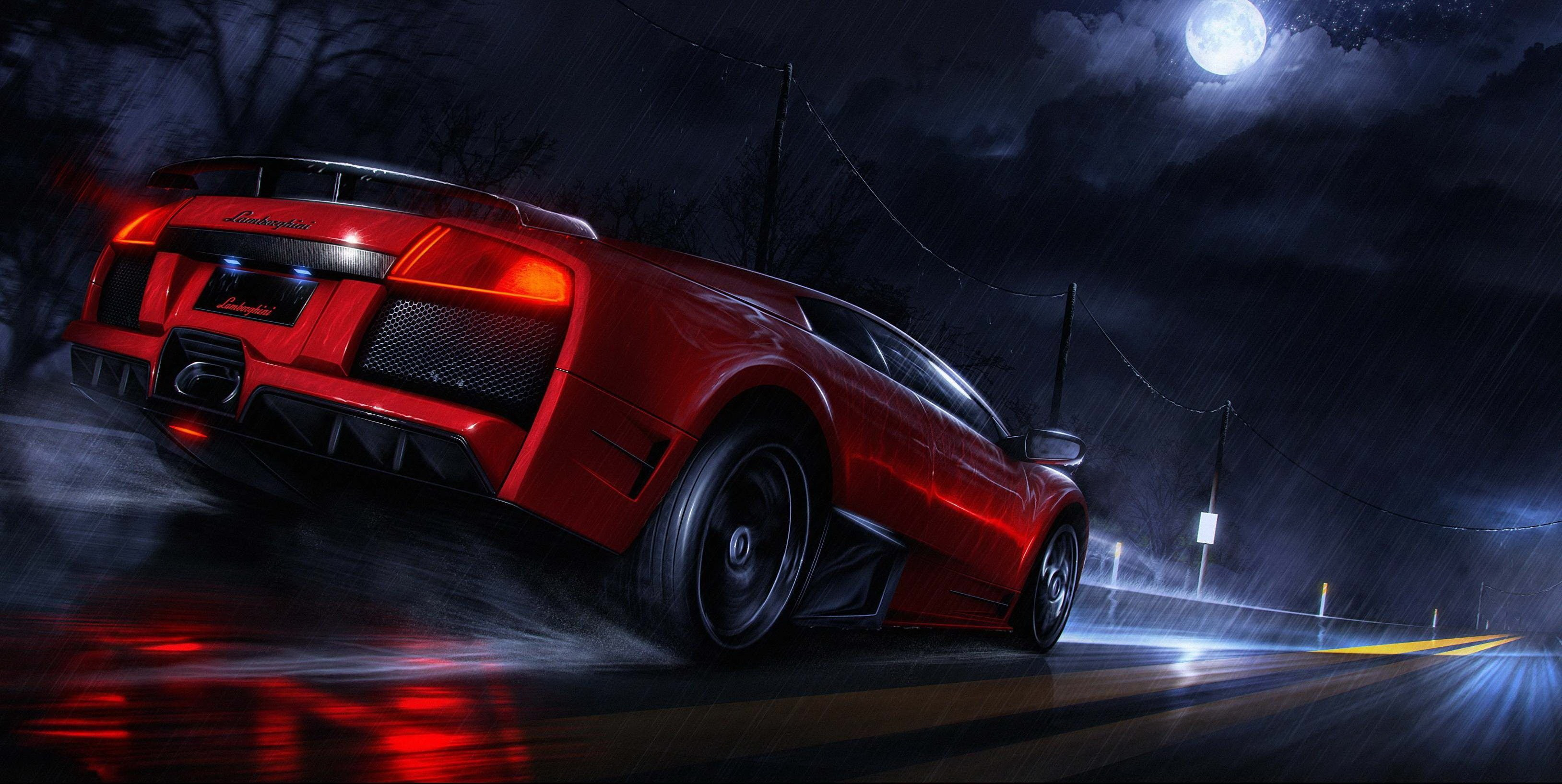 Image: Supercar, red, Lamborghini, road, moon, night, rain, speed, splashes