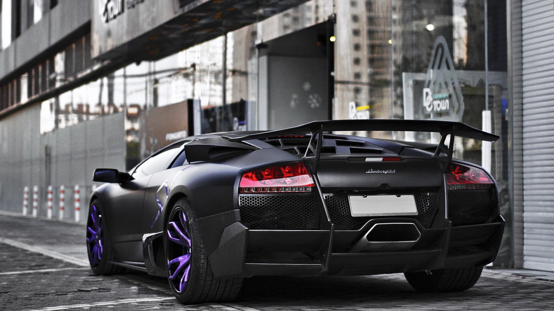 Картинка: Lamborghini, Murcielago, SV, черный, матовый, улица, тротуар, здание