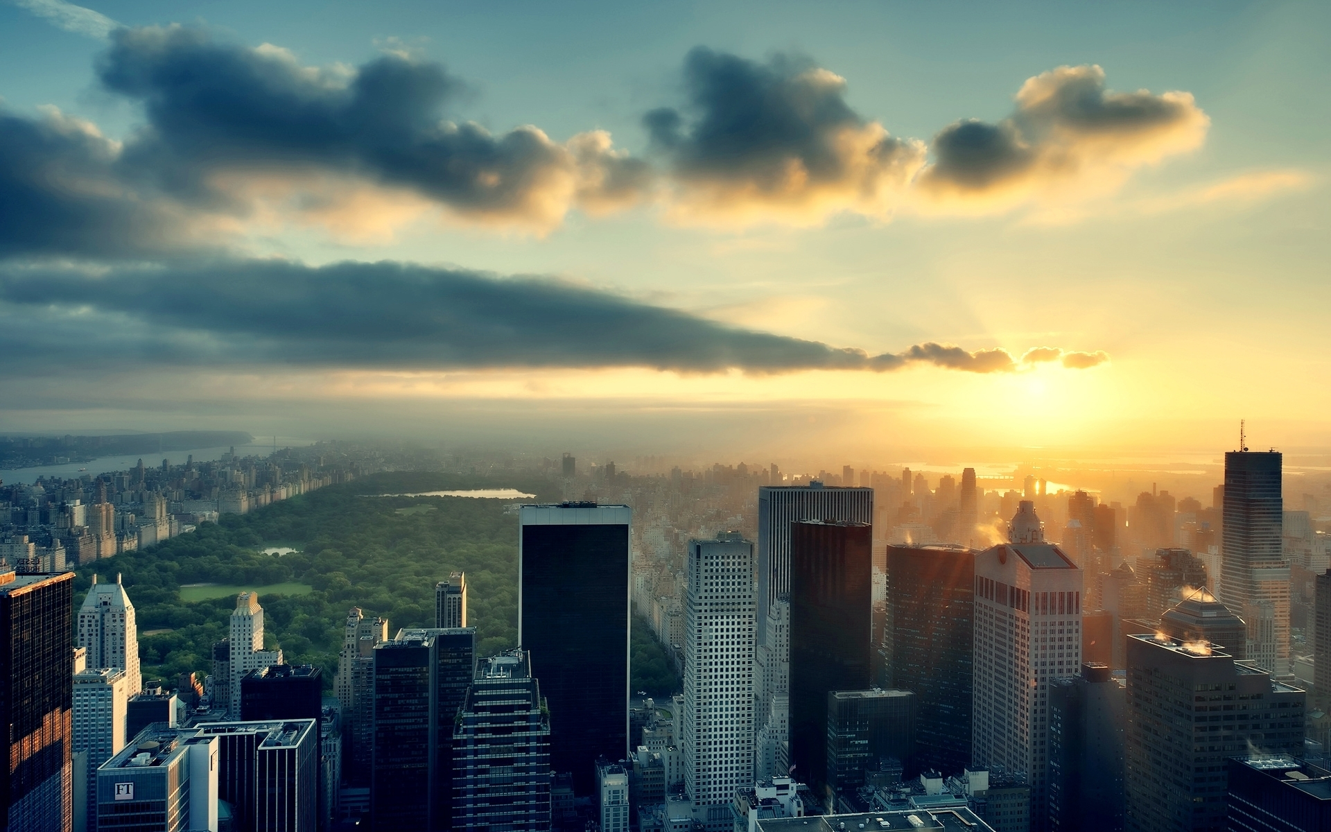 Image: City, New York, skyscrapers, sky, sun, clouds, Central Park