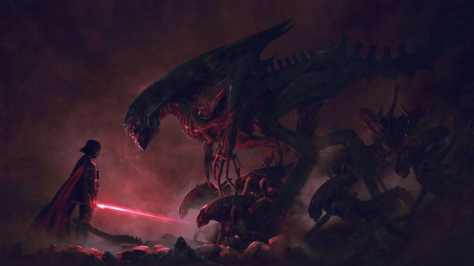 Картинка: Vader Vs Aliens, Дарт Вейдер, Чужие, противостояние, битва, меч, арт, свет, туман