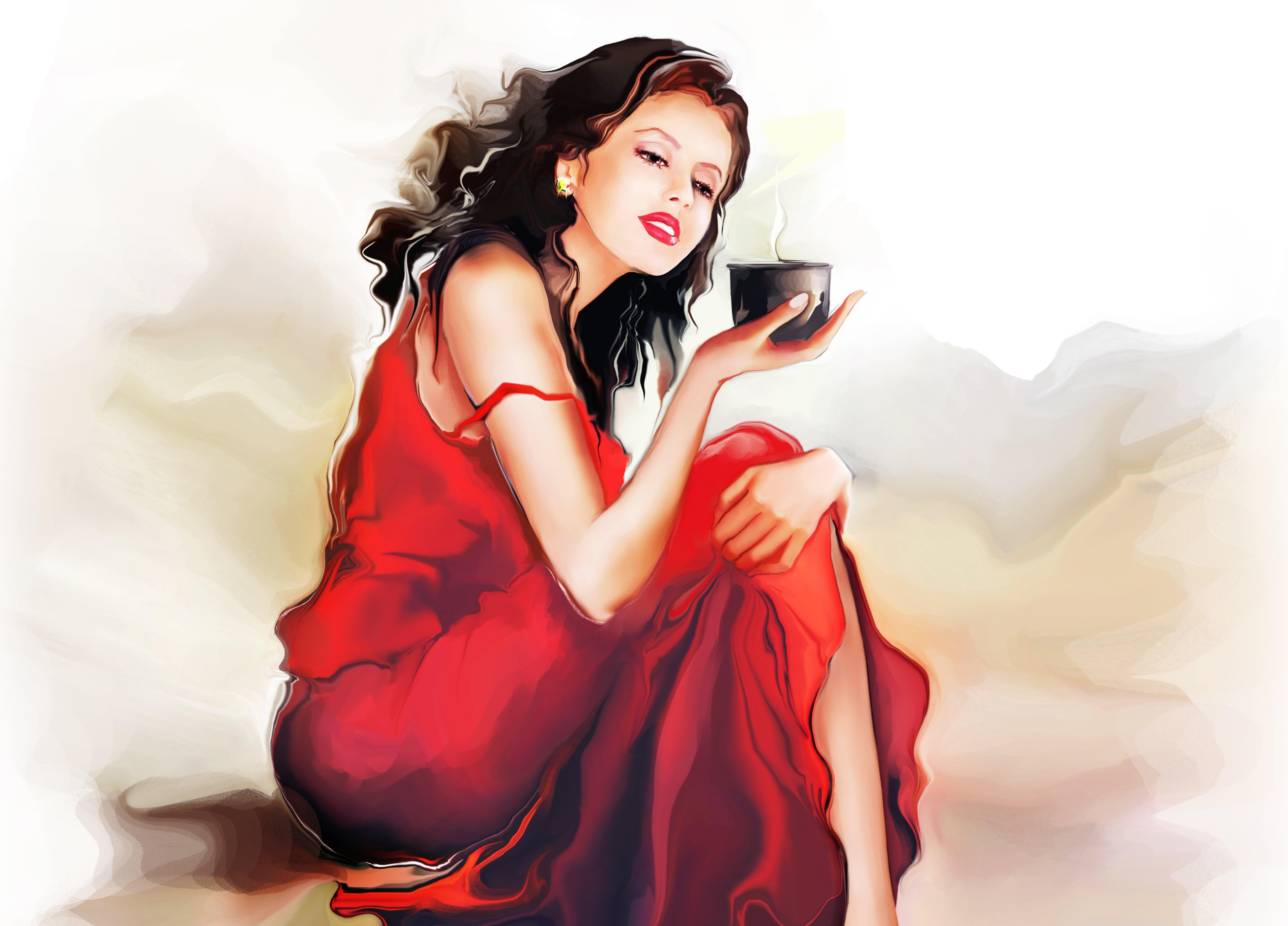 Картинка: Девушка, сидит, арт, рисунок, платье, в красном, чашка, держит, напиток, художник, Татьяна Никитина, акварель