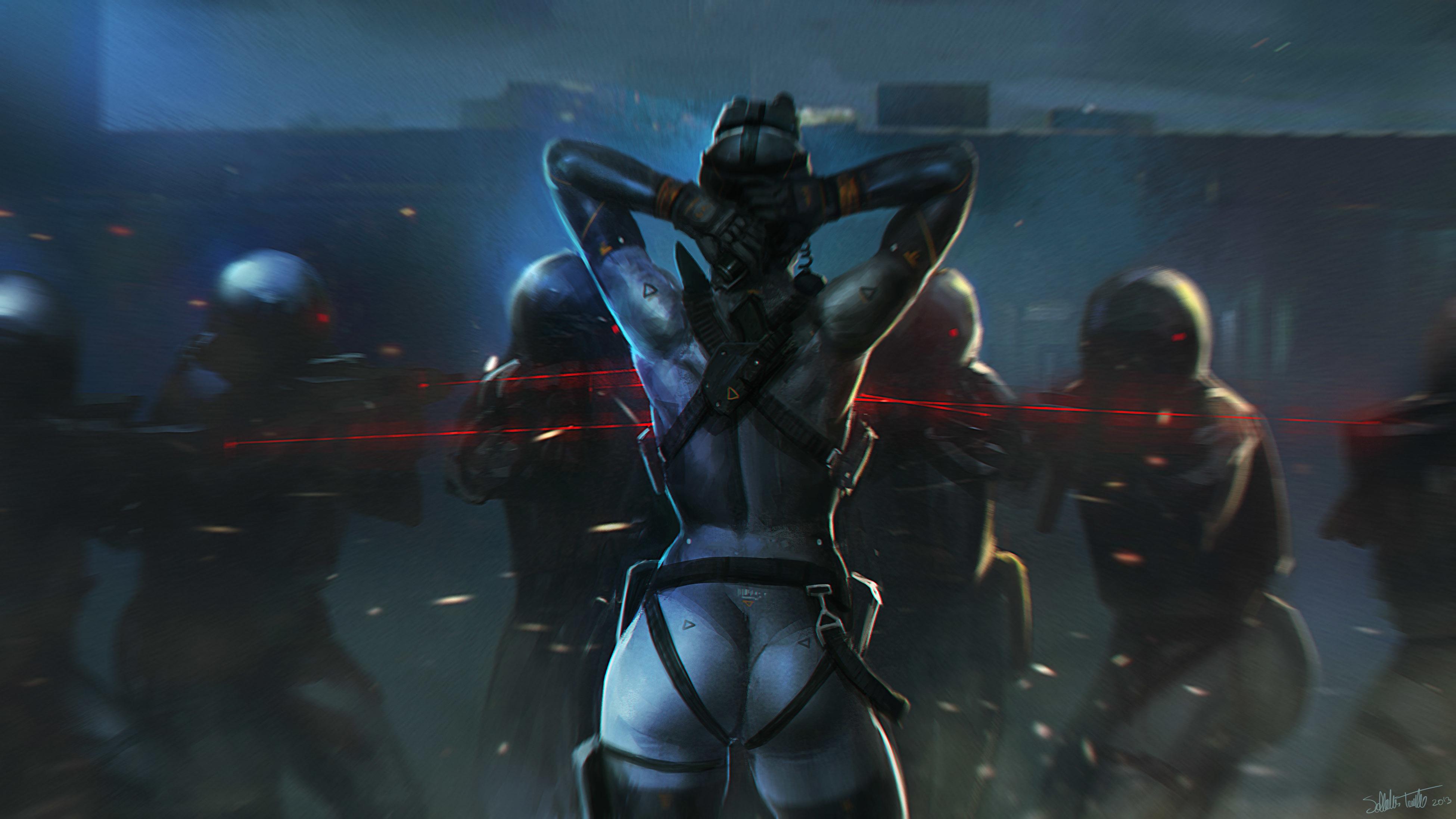 Картинка: Солдаты, прицел, девушка, лазер, спиной, руки за голову, граната, экипировка, Salvador Trakal, арт