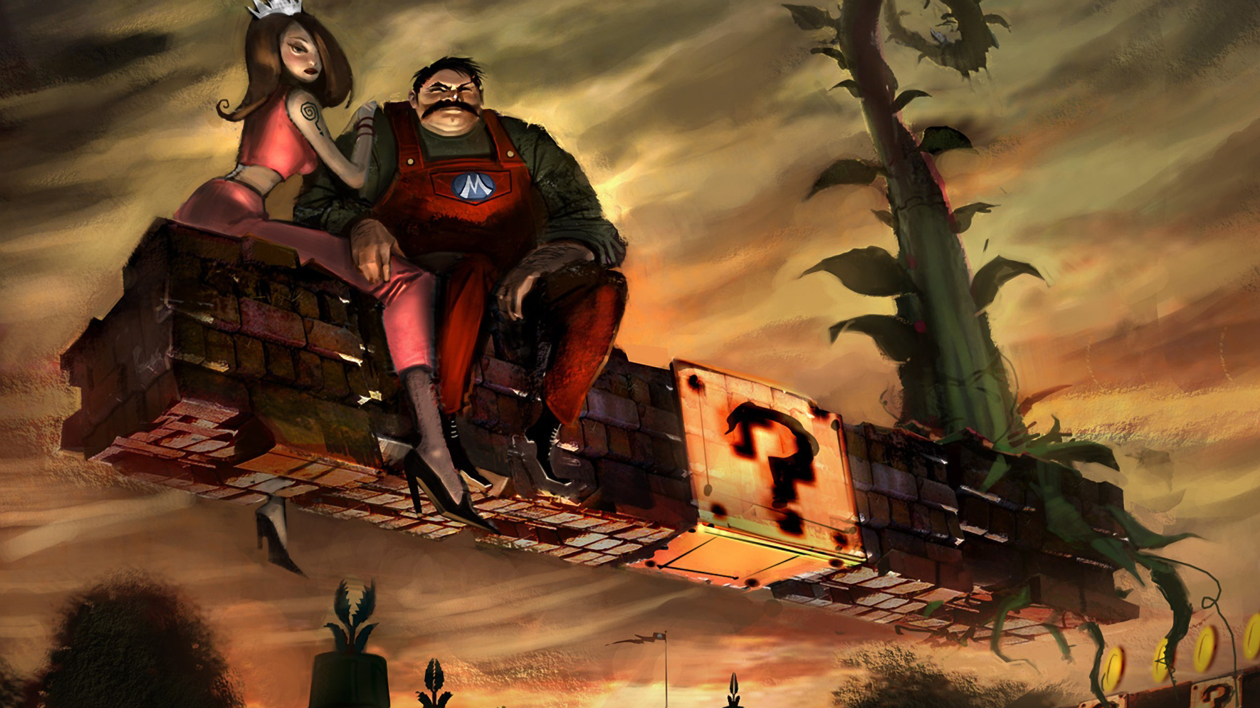 Image: Mario, Princess, mustache, bricks, hanging, plant, sky, art, play, sign, question