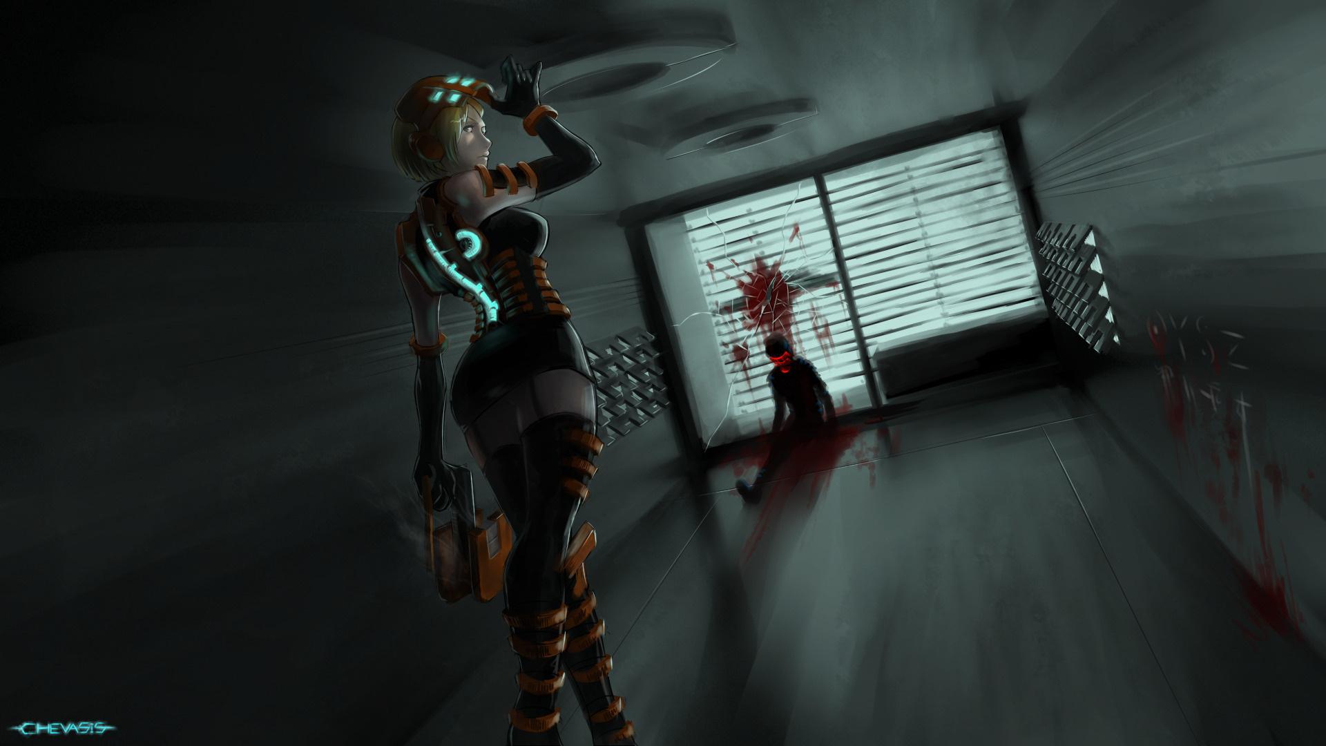 Картинка: Девушка, взгляд, оружие, резак, костюм, фантастика, dead space, игра, Николь Бреннан, арт, chevasis, комната, тело
