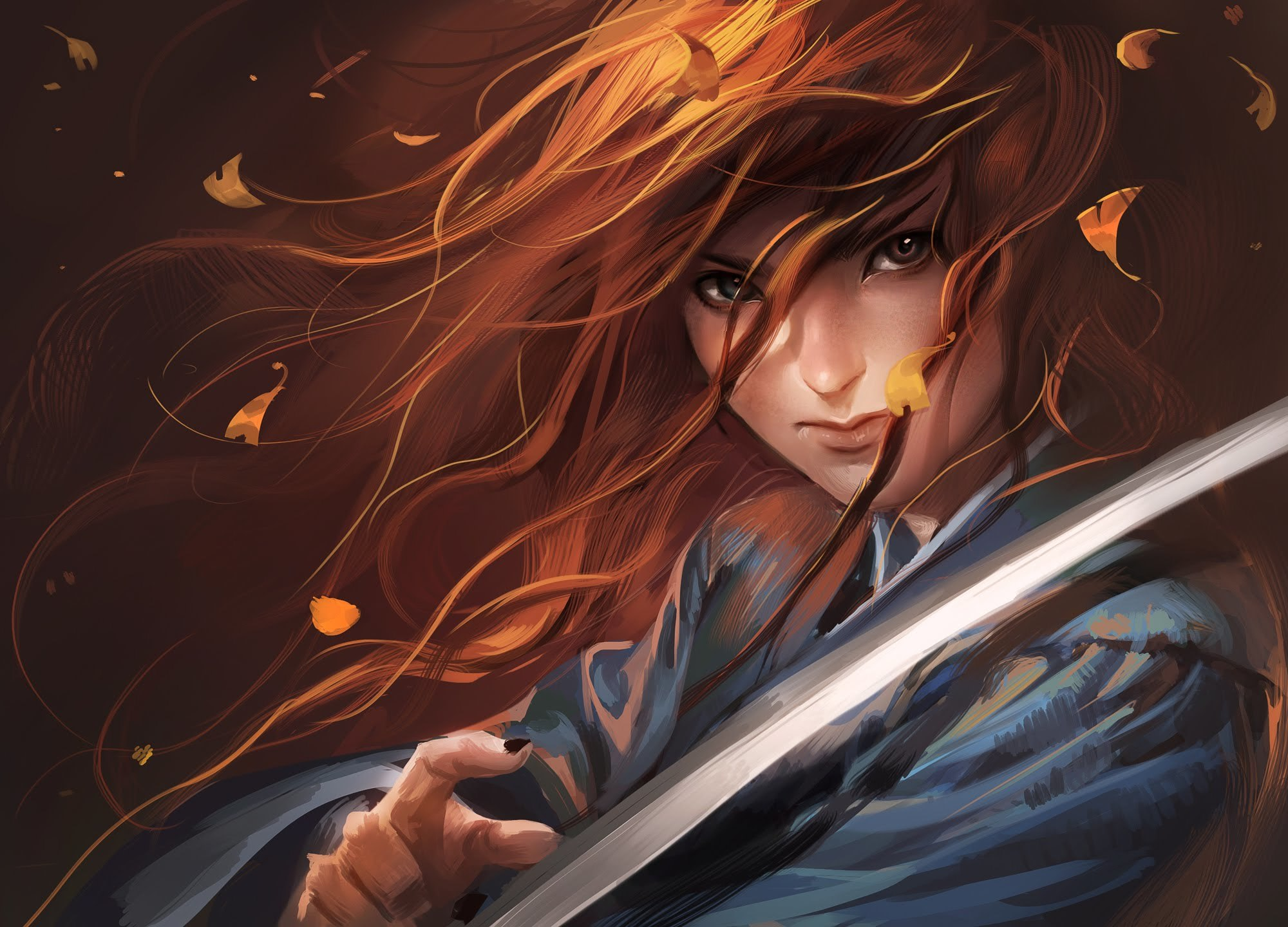 Image: Girl, hair, leaves, wind, sword, katana, look, red hair, art
