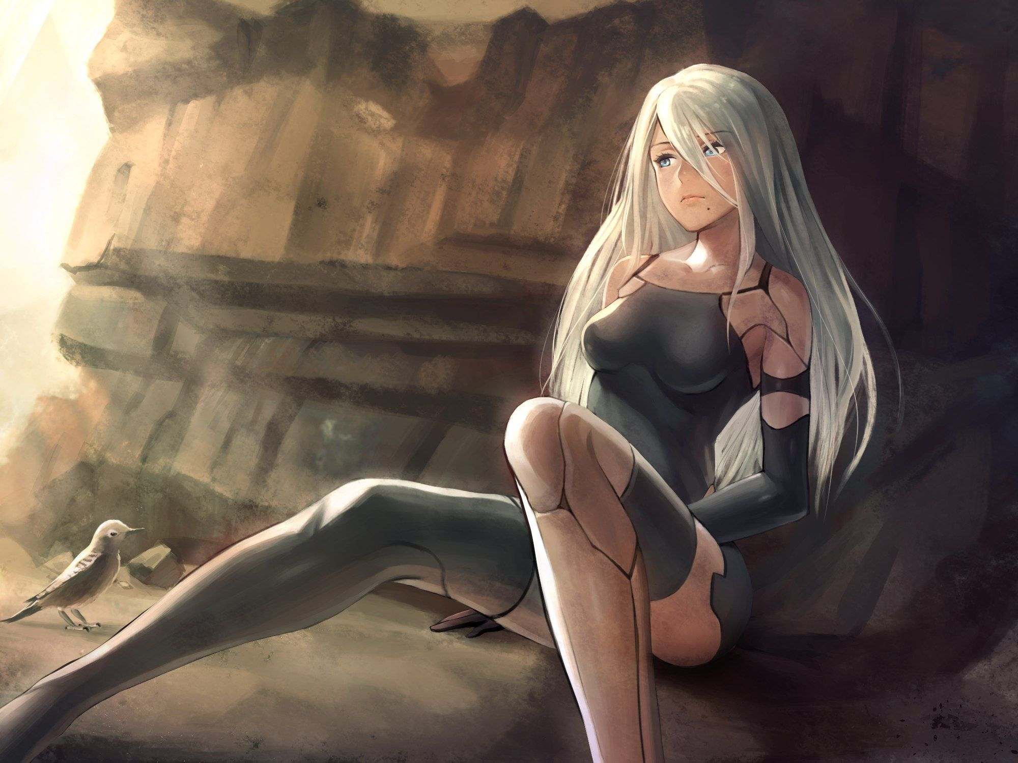 Image: Android, A2, art, game, NieR:Automata, sitting, cave, light, bird, girl