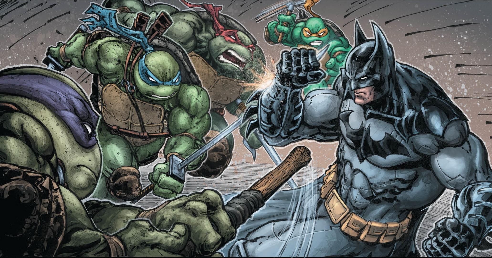 Image: Teenage mutant ninja turtles, Batman, battle, battle