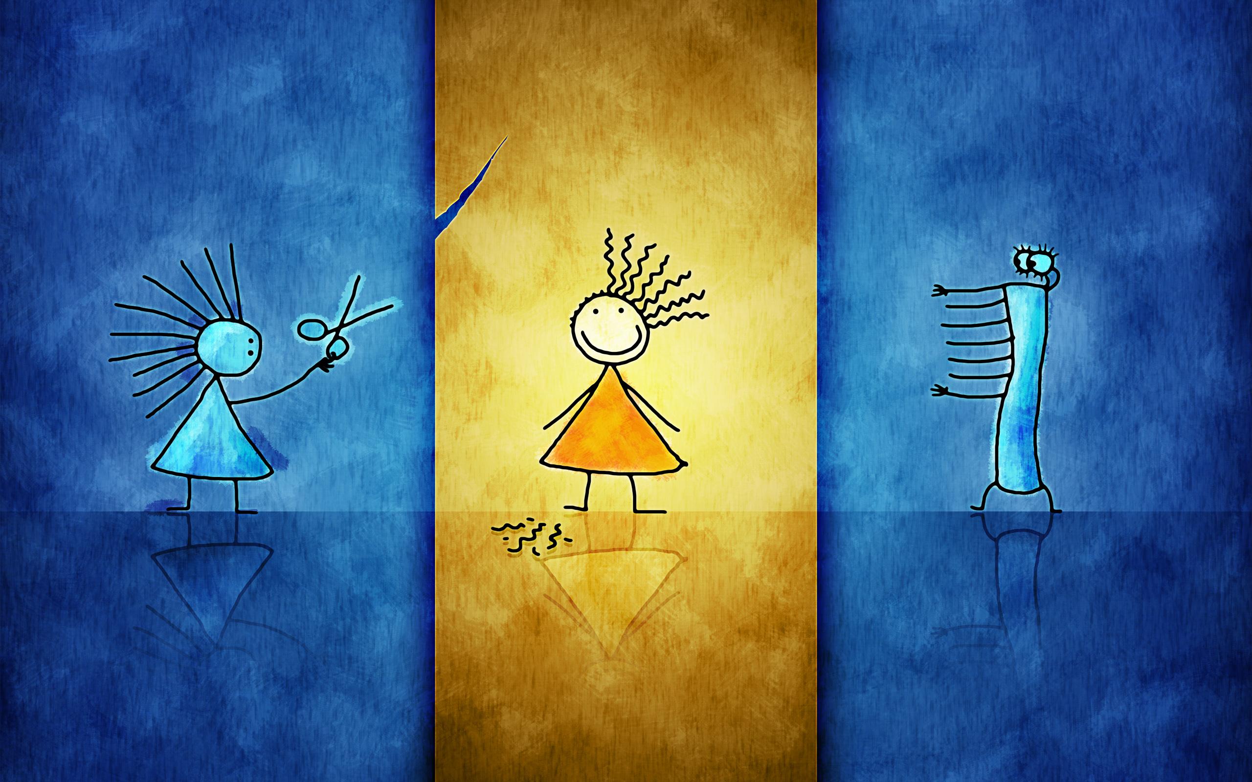 Картинка: Девочки, стрижка, ножницы, юбка, синий, жёлтый, лента, большеглазый