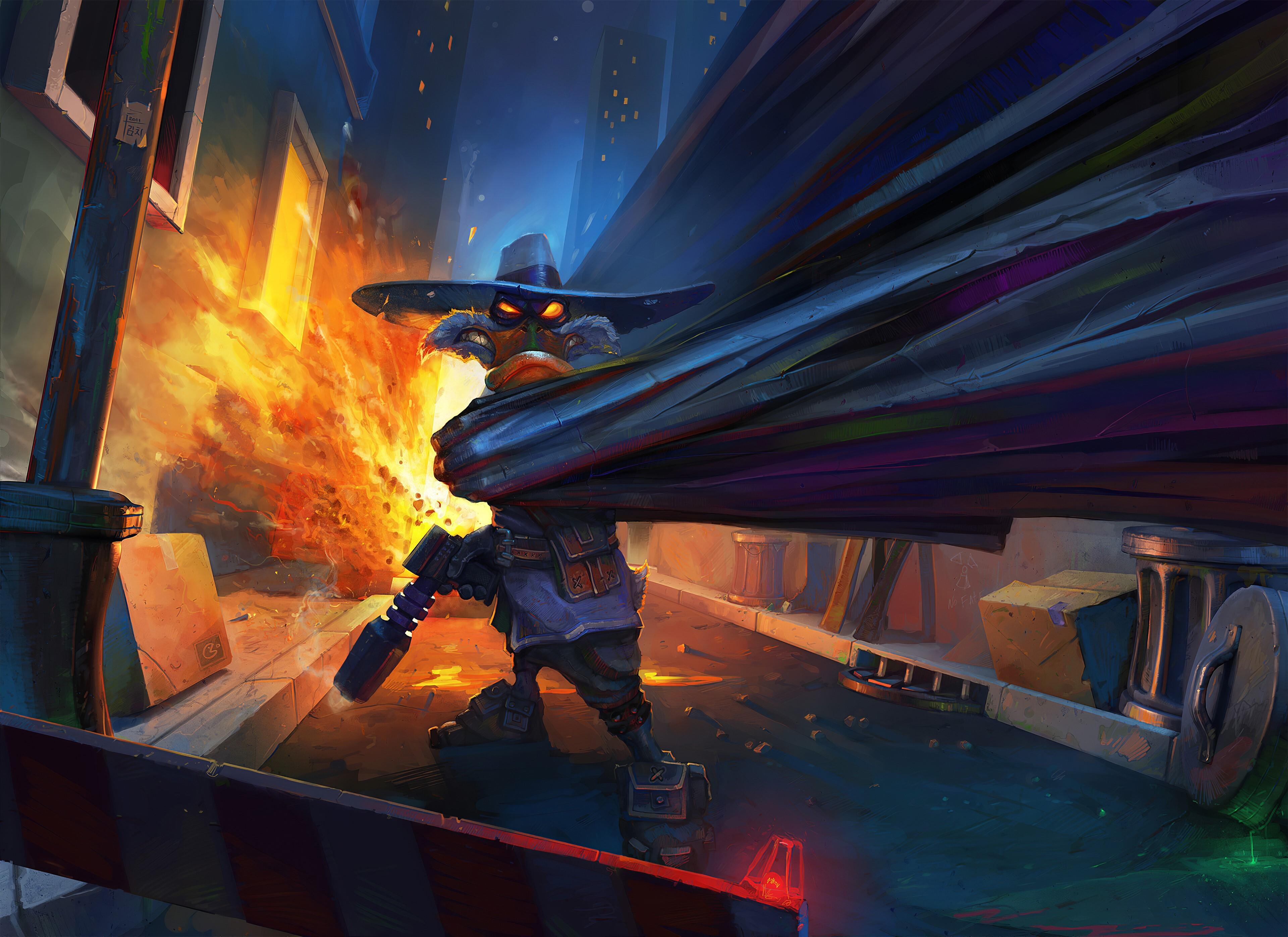 Картинка: Чёрный плащ, брутальность, пушка, оружие, плащ, взрыв, переулок, злой, арт